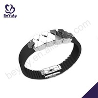 Best seller black leather men fashion wrist band china supplier