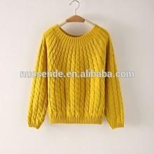 2015 nueva mujeres del resorte del suéter casual tejido de punto de punto para mujer suéteres engrosamiento de manga larga mujer moda géneros de punto