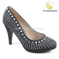 FLAMINGO 2015 LATEST ODM/ OEM Glitter elegant Fashion pump crystal high heel shoes