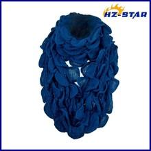 HZW -13749005 ladies new design custom Womens Cute Ruffle Edges black Winter korean acrylic knit fashion scarf