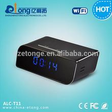 Beautiful mini alarm clock hidden type small night vision camera with sd card