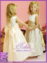 China Supplies White Chiffon and Lace Flower Girl Dress Patterns 2015 with Sash
