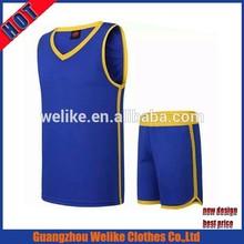 Casual polyester basketball wear wholesale basketball shirt 2015 custom men dry fit basketball jersey set