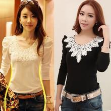 2015 Women's Autumn Spring Casual Shirt Lace Tops Cute Elegant Ladies 3/4 Sleeve Blouse Designs SV008236