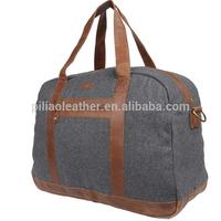 Grey PU handled felt fancy mens travel duffel bag BUG-1239