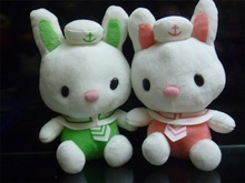 Green and pink colors seaman coat stuffed toy rabbit wholesale
