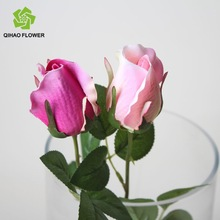 Pink rose bud for decoration artificial flower cheap
