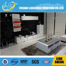 Anti-Scratch tempered glass top and white high gloss 5 drawers cabinet
