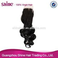 Fast shipping large stock virgin hair free part closure loose wave closure brazilian curly closure