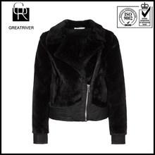 wholesale garment dyed black woman custom fur collar leather fur jacket for women