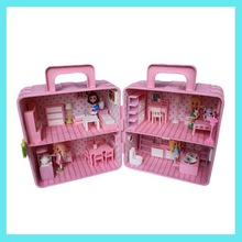 New Small Plastic doll house with miniature furniture
