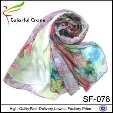 2015 hot sale women fashion chiffon colorful printed silk scarf