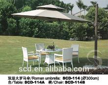 Side post big roman umbrella LED light leisure patio umbrella