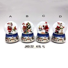 100MM polyresin water ball with key music santa claus for christmas holiday four assortments