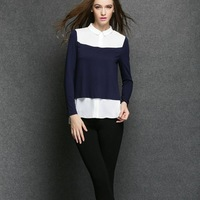 WA2014 european fashion chiffon blue french style blouse