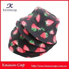 2015 new fashion design custom digital printed strawberry pattern black bucket hat with string wholesale
