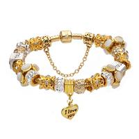 Gold plated love heart charm bracelet, European charm bead bracelet gold plated love heart charm bracelet