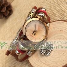 Vintage design alloy flower pendant genuine leather watch wholesale All handmade wood beads alloy decor leather bracelet watch