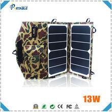 High Effi. 13W sunpower folding solar panel 5v usb solar phone charger for hiking/camping