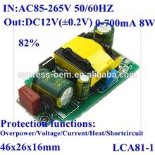 ac dc switching power supply module/bare board ac85-265v 220v 110v to dc 12v 0-700mA 650mA 8W 82%
