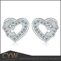 CYW bijuteria Hot sale High Quality AAA zircon 925 Sterling Silver heart Earrings jewelry