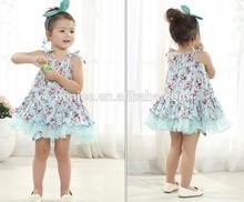 2015 duas cores venda quente novo modelo vestido da menina flor