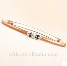 Thin slimsy crystal buckle belt girl leather belt V belt brown color
