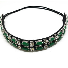 Small MOQ New design bohemian Elastic handmade crystal beaded headband