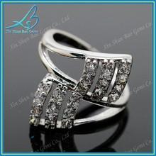 Ladies zircon anel barato prata moda anel de casamento