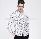 New design 2015 animal print men white slim fit casual shirt