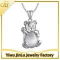 moda bonito 925 opala colar de prata pingente urso