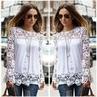 Fashion Women's Long Sleeve Lace Crochet Shirt Women Transparent Blouse SV009993