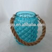 Pineapple Shape Handmade Glass Candle Holder with Handle