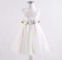 2015 White color tulle rosette flower girl dress,flower girl elegant sleeveless dress,flower girl wedding dress