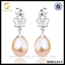 Handmake Silver Jewelry Queen Crown Earring Real Pearl Earrings
