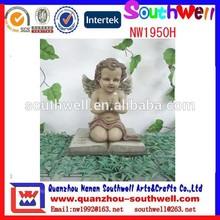 custom design home decorative resin praying white angel wing statue
