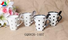 Zibo ceramic mugs bulk 280ml color handles and dots reusable for Dubai