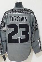 Newest Los Angeles Fashion Charcoal Jerseys #23 Dustin Brown Grey Ice Hockey Jerseys