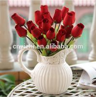 wholesale wooden flower rose artificial red single stem rose flower 35cmH natural simulation rose