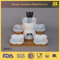 Chocolate Fondue Set and Plate, Ceramic Fondue Sets with Bamboo Base