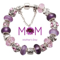 2015 mother's day mother mum mom gifts fashion European purple murano glass bead bracelet