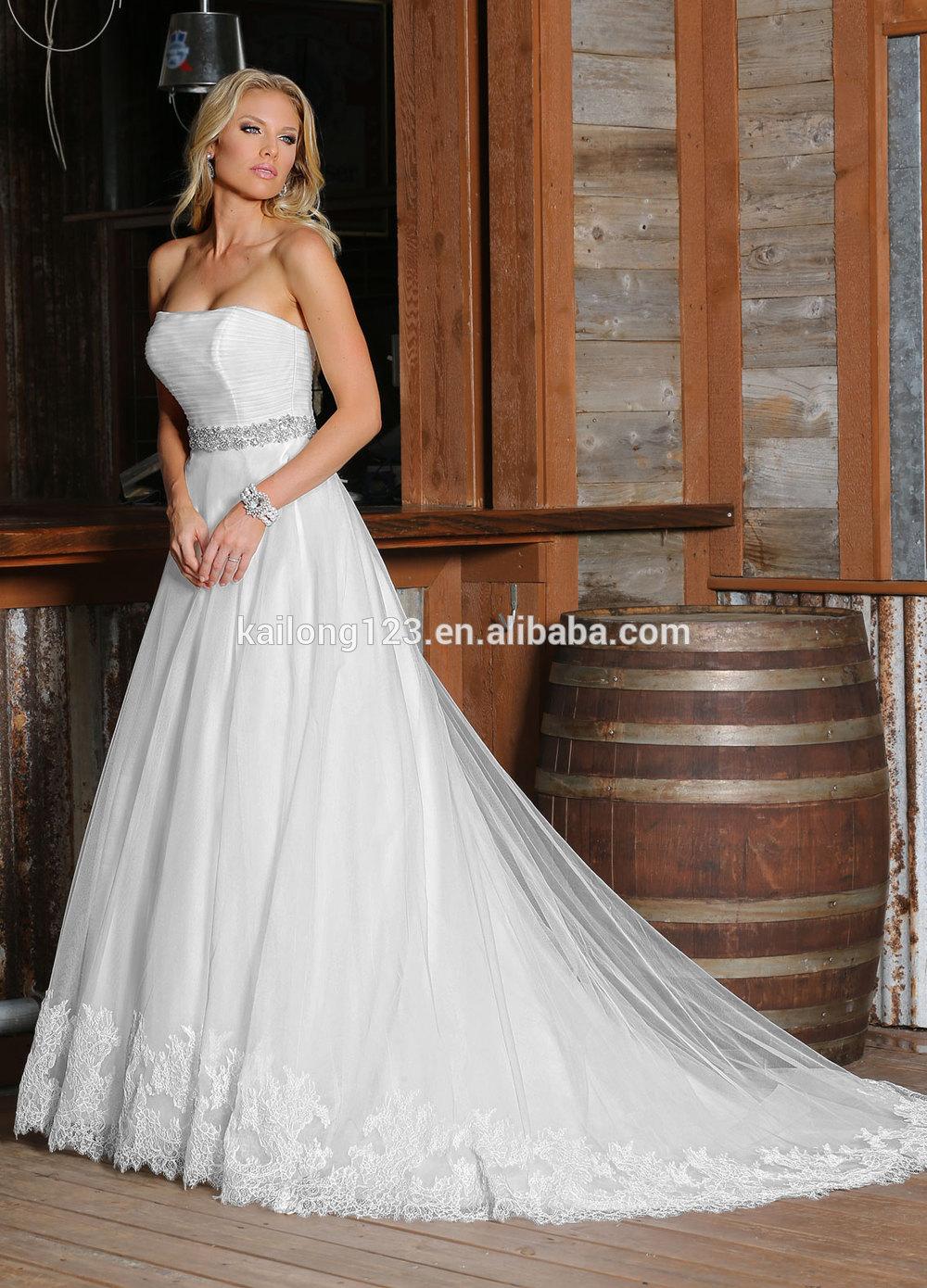 Acanalada vestido de novia de la blusa