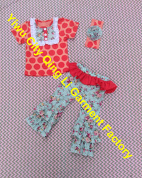 Big Dots Top With Beautiful Bib & Cotton Pants With The Pattern Of The Flowers For Baby Girls