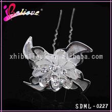 Metal silver flower hair forks with rhinestone hair ornament jewelry (SDML-0227)
