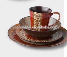 2015 wholesale china tableware, 16pc aquamarine polka dot dinnerware for daily use