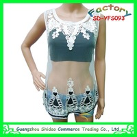 New design summer lady embroidery blouse&top sleeveless factory price to export