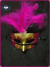2014 new beautifu half face feather flower party mask masquerade masks with stick