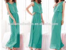 2015Hot Sale Women Pleated Wave Lace Strap Princess Chiffon Maxi Dress