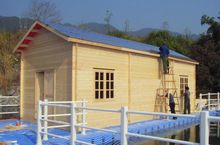 skid resistant surface floating modular house