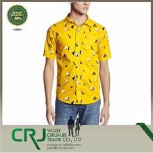 Custom Fashion Sublimation Printing Men's Short Sleeve Woven Shirt